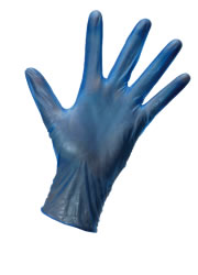 Blue vinyl powdered disposable medical grade gloves from gloves4less.
